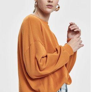 NWT Stelen USA ribbed blouse orange S